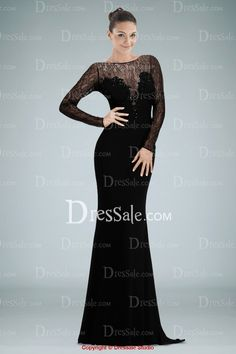 Delicate Illusion Neckline Long Sleeve Evening Dress with Lace and Beads