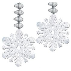 Add a burst of wintry decor to your holiday celebration with our Silver Foil Snowflake Danglers. This set of two danglers feature silver cardstock snowflakes that hang from silver foil swirls. Christmas Birthday Party, Christmas Party Decorations, Hanging Decorations, Frozen Birthday, Snowflake Decorations, Winter Decorations, Birthday Ideas, Holiday Decor, Christmas Colors