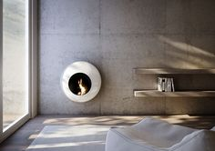 Modern Wall-Mounted Fireplace