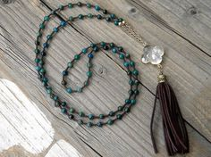 Long Beaded Necklace Boho necklace Apatite Beads by DeetabyDesign