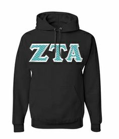 $40 Zeta Tau Alpha Custom Twill Hooded Sweatshirt #greekgear #sororityhoodie