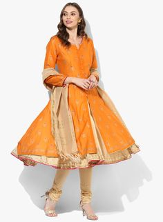 Buy Biba Orange Printed Churidar Kameez Dupatta With Lining online in India at best price.Exuding elegance and finished to perfection, this orange suit set from BIBA, featuring a layered style Churidar, Anarkali, Orange Suit, Designer Punjabi Suits, Festival Wear, Salwar Suits, Indian Dresses, I Dress, Midi Skirt