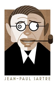 Sartre Illustration by Sergio Casado Art And Illustration, Portrait Illustration, Jean Paul Sartre, Communication Pictures, History Of Philosophy, Winslow Homer, Star Comics, Comic Panels, Arte Pop