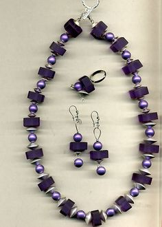 Purple Lucite and Austrian Drux Bead Necklace with Earrings and Adjustable Ring