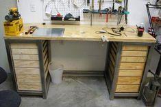 Jewelers Workbench, Workbench Designs, Jewellers Bench, Studio Organization, Shops, Diy Bench, Bench Plans, Home Studio, Interior Design Studio