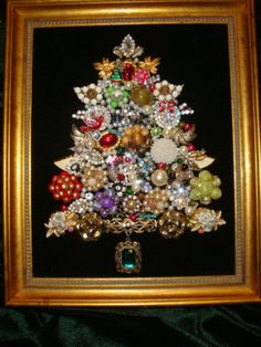 Beautiful Framed Jewelry Christmas Tree Vintage Mix of Bling | eBay $55
