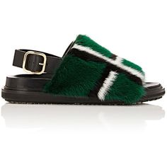 Marni Women's Fur-Trimmed Slingback Sandals ($879) ❤ liked on Polyvore featuring shoes, sandals, green, plaid shoes, sling back sandals, open toe shoes, open toe slingback and polish shoes