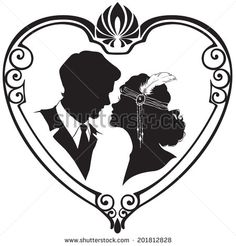 stock-vector-vector-silhouette-of-retro-style-couple-in-the-hear-frame-vector-illustration-201812828.jpg (450×470)