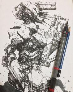 Inktober Art inspiration and artwork drawing Arte Robot, Robot Art, Arte Cyberpunk, Robot Concept Art, Ex Machina, Cthulhu, Ink Art, Cool Drawings, Art Reference