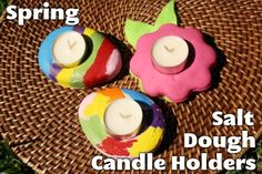 Spring Salt Dough Candle Holders, Mom's Day gift idea; these could be made ahead of time, ready for the kids to paint.