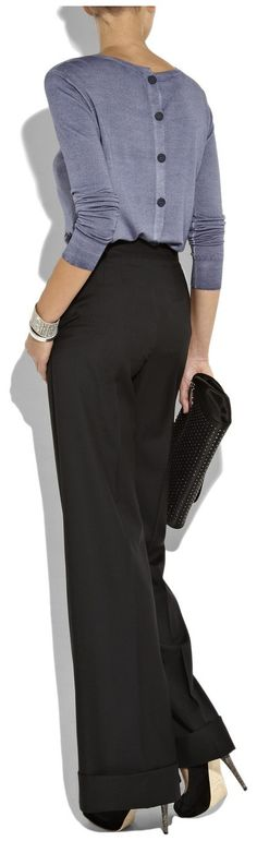 Decent work outfit fashion, back button top and classy pants for ladies ... to see more click on pic
