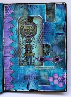 art journal with paper artsy fresco finish paints and crackle glaze http://www.marjiekemper.com/guest-designer-for-paperartsy-tutorial