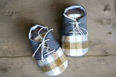 Plaid baby boy shoes, grey brown cream oxfords,  baby sneakers crib booties, newborn flats, infant slippers, lace up shoes
