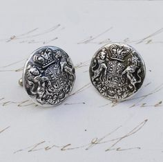 These stunning cufflinks are inspired by the crest of England. Wearable Art, Linens, Cufflinks, Monogram, England, Stud Earrings, Sterling Silver, Inspired, Antiques