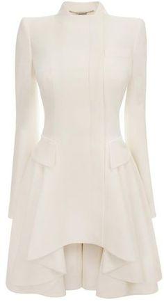 Alexander McQueen White Crepe Circle-Drape Dress-Coat by AislingH
