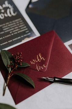 Calligraphy Stationery Invites Invitations Navy Red Moody Jewel Tone Velvet Wedding Ideas Sanctum On The Green https://lolarosephotography.com/ #wedding #Calligraphy #Stationery #Invites #Invitations #Navy #Red
