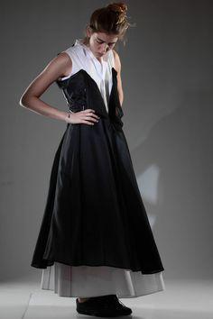 YOHJI YAMAMOTO - Long Dress In White Cotton Poplin Sewn On Another Dress In Black Silk Voile :: Ivo Milan
