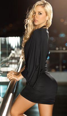 Lovely V Neck Black Dress - Side