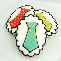 Cookie Decorating Tips - Happy Father's Day Tie Decorated Cookies (Tutorial). Galletas decoradas Dia del Padre.