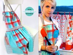 Fat Quarters Plaid Apron in Moda's Wee Wovens Brights