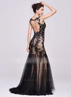 Trumpet/Mermaid V-neck Sweep Train Tulle Evening Dress With Appliques Lace (017066940)