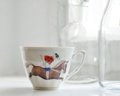 Vintage cup with horse, tea cup, coffe cup, espresso cup, porcelain, made in Poland, Wałbrzych porcelain on Etsy, US$15.00