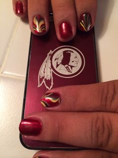 Ode to Redskins Nails water marble design burgundy & gold! Burgundy And Gold, Washington Redskins, Toe Nails, How To Do Nails, Pretty Nails, Health And Beauty, Nail Designs, Nail Art, Pedicures