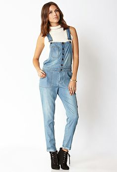 Life In Progress™ Chambray Overalls | FOREVER 21 - 2000110704 #F21CRUSH