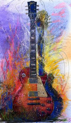 Fun With Les by Andrew King (watercolour/pastel). A fun interpretation of a Gibson Les Paul guitar.