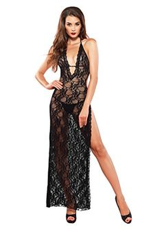 29bcdf1f02a3 Leg Avenue Womens DeepV Lace High Slit Backless Gown Black One Size *** To  view further for this item, visit the image link.