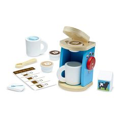 Shop Melissa & Doug Brew & Serve Wooden Coffee Maker Set (Play Kitchen Accessories, Encourages Imaginative Play, 12 Pieces, cm H x cm W x cm L). Free delivery and returns on eligible orders of or more. Toddler Toys, Kids Toys, Toddler Gifts, Ikea Duktig, Play Kitchen Accessories, Kitchen Sets For Kids, Opening A Coffee Shop, Melissa & Doug, Play Food
