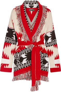 Alanui | Fringed jacquard-knit cashmere cardigan | NET-A-PORTER.COM