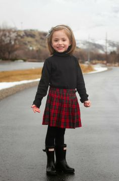 Plaid skirts and hunter boots, little girl style, our happiness tour