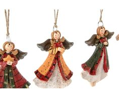 36 Anges décoratifs et 1 arbre de noël décoratif, rouge et vert - H11