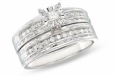 1/3 Carat Diamond 14K White Gold Set of Bridal Engagement Ring Set