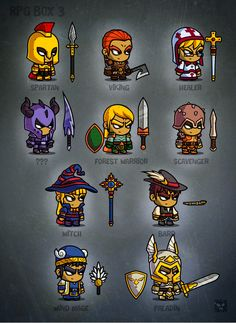 Rpg cartoon characters - game art by eatcreatures on creative market game character design, Game Character Design, Game Design, Character Art, 2d Game Art, Video Game Art, Fantasy Characters, Cartoon Characters, 2d Rpg, Chibi