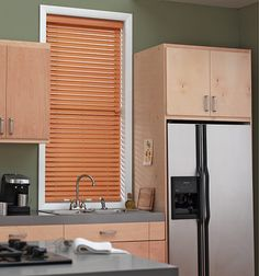 Blindsgalore Smooth Faux Wood shown in color Peanut Brittle - perfect for above my stove and sink - can take the heat and not warp. Pvc Blinds, Cheap Blinds, Faux Wood Blinds, Cheap Curtains, Blinds For Windows, Window Blinds, Wood Wood, Weathered Wood, Kitchen Window Treatments