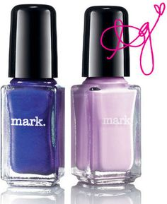 Mark Nailed It Trend Mini Lacquer - Violet Femme Shades.  Two limited edition shades from the mark. Night Iris collection in one carton: violet daze, a shocking purple, and tickled pink, a thrilling lilac.  $7.00