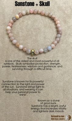 "Sunstone helps empower those who feel persecuted or abandoned by others, instilling confidence and optimism and encouraging motivation and positive action.  Sunstone is also useful in removing energy draining ties or ""hooks"" into your energy by other people.  NEW BEGINNINGS: Sunstone + Skull Yoga Mala Bracelet"