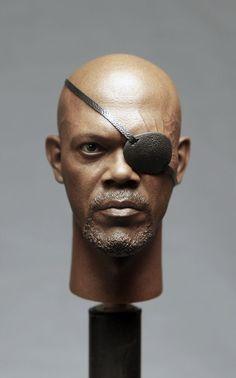 "1 6 America Captain Samuel Jackson Nick Head Sculpt FOR 12"" Male Fury Body Model | eBay"