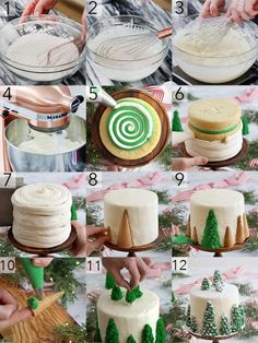 christmas cake A photo collage showing the steps to make a vanilla . - Katja Drescher - christmas cake A photo collage showing the steps to make a vanilla . christmas cake A photo collage showing the steps to make a vanilla Christmas tree cake - Holiday Cakes, Holiday Baking, Christmas Desserts, Holiday Treats, Christmas Treats, Holiday Parties, Xmas Cakes, Christmas Chocolate, Bolo Budweiser