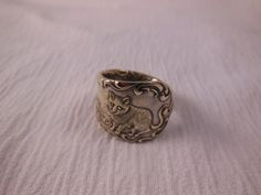 Cat and Kittens  Antique Spoon Ring size 7 and by WoodsEdgeJewelry