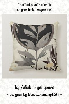 Ivory & Black Zen Watercolor Leaves Throw Pillow - tap/click to get yours right now! #ThrowPillow #black, #abstract, #ivory, #black #and Modern Decorative Pillows, Modern Throw Pillows, Accent Pillows, Zen Design, Design Elements, Black Color Palette, Geometric Circle, Watercolor Leaves
