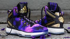 """The adidas D Rose 6 Boost joins the adidas Basketball """"Florist City"""" collection for the Spring of 2016. The sneaker is inspired by Illinois' state flower, the violet, and features a purple, black, and gold colorway with a violet graphic treatment on the upper. The adidas D Rose 6 Boost """"Florist City"""" release date is March 18, 2016 at a retail price of $140."""