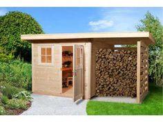 Gartenhaus A Gr. Cozy Backyard, Backyard Sheds, Outdoor Sheds, Outdoor Rooms, Outdoor Living, Outdoor Firewood Rack, Firewood Shed, Shed Design, Patio Design
