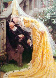 (중세)고딕 시대_그림 속의 여인이 잠든 남성에게 다가가 키스를 하려하는 장면인듯하다.  여인의 복식은 마치 숲속의 요정과 같은 느낌이다.  아마도 그리스 로마 신화와 같은 복장들이 당시 의복을 반영했기에 내게 그런 느낌을 가져다 주는 듯하다.  남성의 복장과 마찬가지로 로마네스크 시대에 비해 소매 등을 보았을 때 몸에 착 달라붙는 의상이 특징이다.     여기서 가장 주목할 것은 모자인데 이는 에넹이라 불리우는 모자로 하늘을향해 높고 뾰족하게 치솟아있는 것이 특징이다. 이후에는 이 모자의 높이가 점점 더 높아지는 것은 물론 모양 또한 다양해 졌다고 한다.