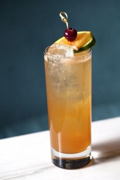 West Indian Planters Punch - jamaican rum, lime juice, angostura bitters & club soda.
