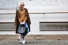 by malene birger khaki gold sweater, celine mini luggage, adidas superstar, blogger modelovers
