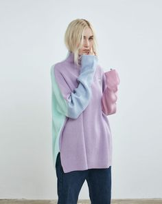Lazy Oaf Pastel Panel Knitted Jumper - Everything - Categories - Womens Jumper Outfit, Sweater Jacket, Thick Sweaters, Cute Sweaters, Cute Fashion, Fashion Outfits, Lazy Oaf, Knitwear Fashion, Girl Clothing