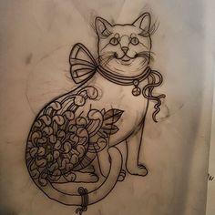 One more cat. Available to be tattooed! email on elliott@triplesixstudios.com for info! Set price of 200.  #tattoo #tattoos #tattooworkers #tattoosnob #tattoolifemagazine #triplesixstudios #neotrad #neotradsub #neotraditional #neojapanese #uktta #art #artist #draw #drawing #japaneseflowers #japanesetattoos #chrysanthemum #oldlines #teamego #sunderland #northeast #triplesix #cat #cattattoo #monmoncat #thebesttattooartists by elliottwells666